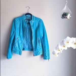 Jackets & Blazers - Teal Faux Leather Jacket